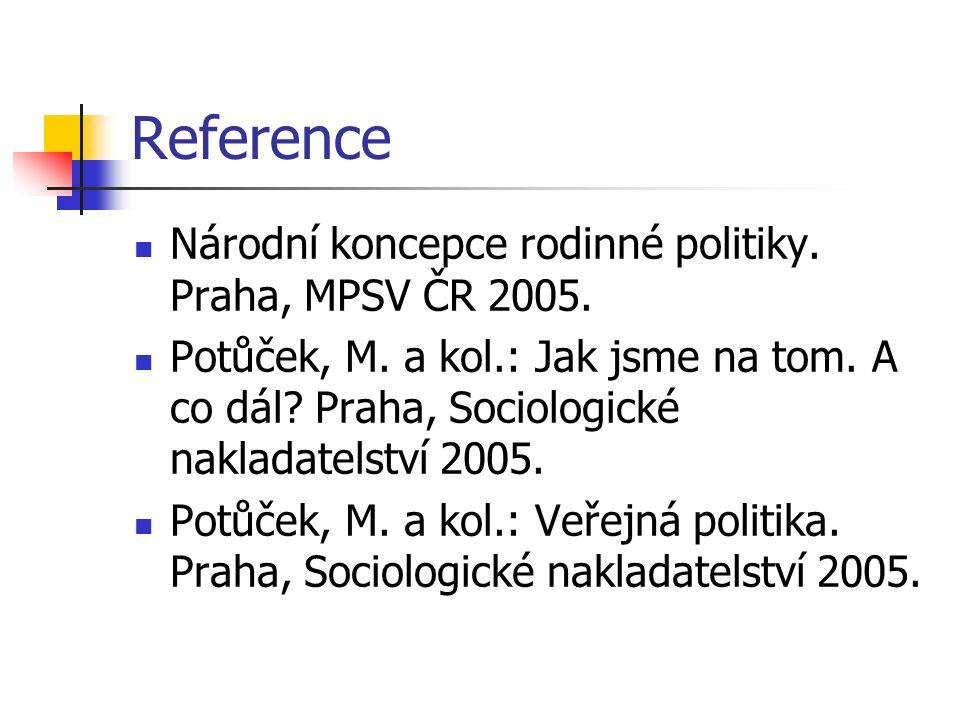 Reference Národní koncepce rodinné politiky. Praha, MPSV ČR 2005.