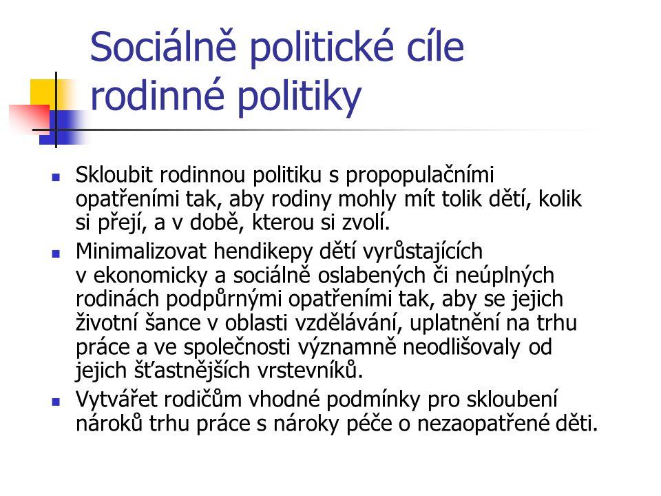 Sociálně politické cíle rodinné politiky Skloubit rodinnou politiku s propopulačními opatřeními tak, aby rodiny mohly mít tolik dětí, kolik si přejí, a v době, kterou si zvolí.