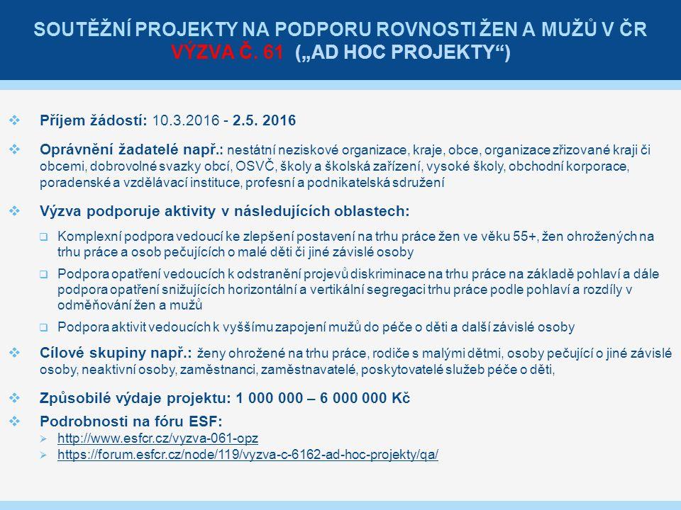 SOUTĚŽNÍ PROJEKTY NA PODPORU ROVNOSTI ŽEN A MUŽŮ V ČR VÝZVA Č.