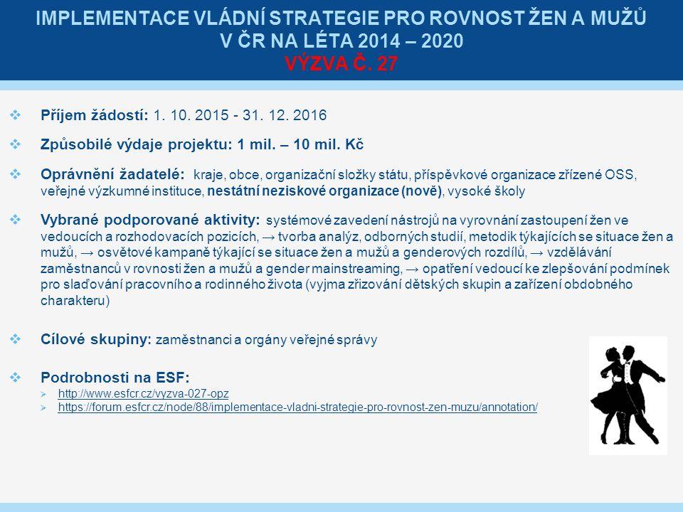 IMPLEMENTACE VLÁDNÍ STRATEGIE PRO ROVNOST ŽEN A MUŽŮ V ČR NA LÉTA 2014 – 2020 VÝZVA Č.