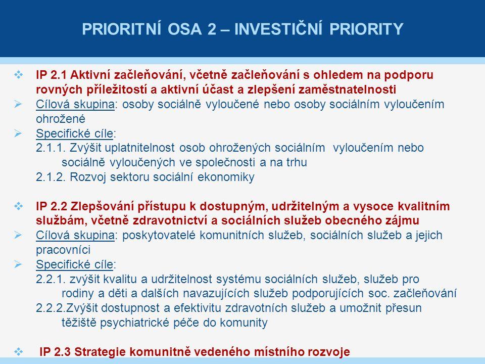 PRIORITNÍ OSA 2 – INVESTIČNÍ PRIORITY  IP 2.1 Aktivní začleňování, včetně začleňování s ohledem na podporu rovných příležitostí a aktivní účast a zlepšení zaměstnatelnosti  Cílová skupina: osoby sociálně vyloučené nebo osoby sociálním vyloučením ohrožené  Specifické cíle: 2.1.1.