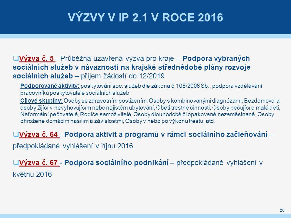 VÝZVY V IP 2.1 V ROCE 2016  Výzva č.
