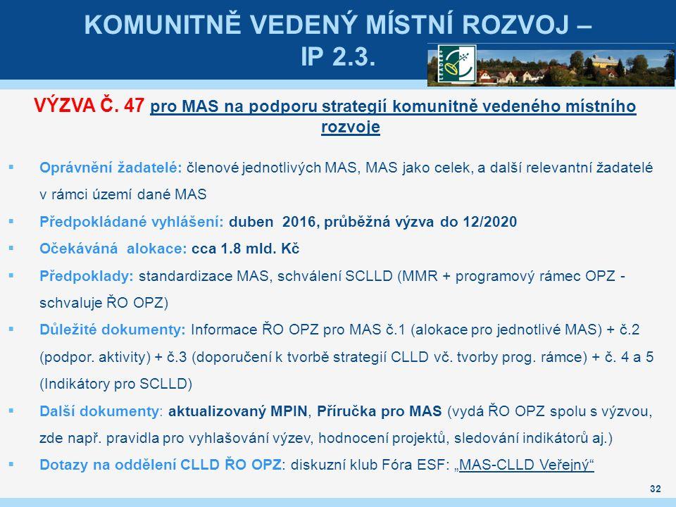 KOMUNITNĚ VEDENÝ MÍSTNÍ ROZVOJ – IP 2.3. VÝZVA Č.