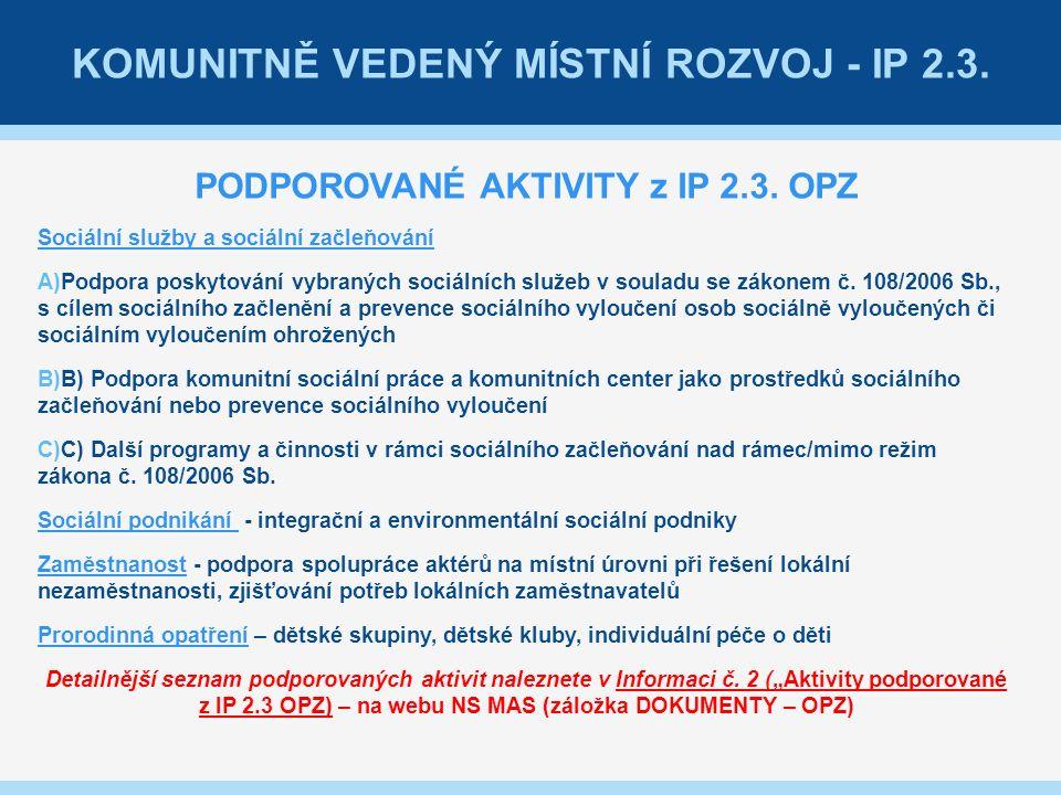 KOMUNITNĚ VEDENÝ MÍSTNÍ ROZVOJ - IP 2.3. PODPOROVANÉ AKTIVITY z IP 2.3.