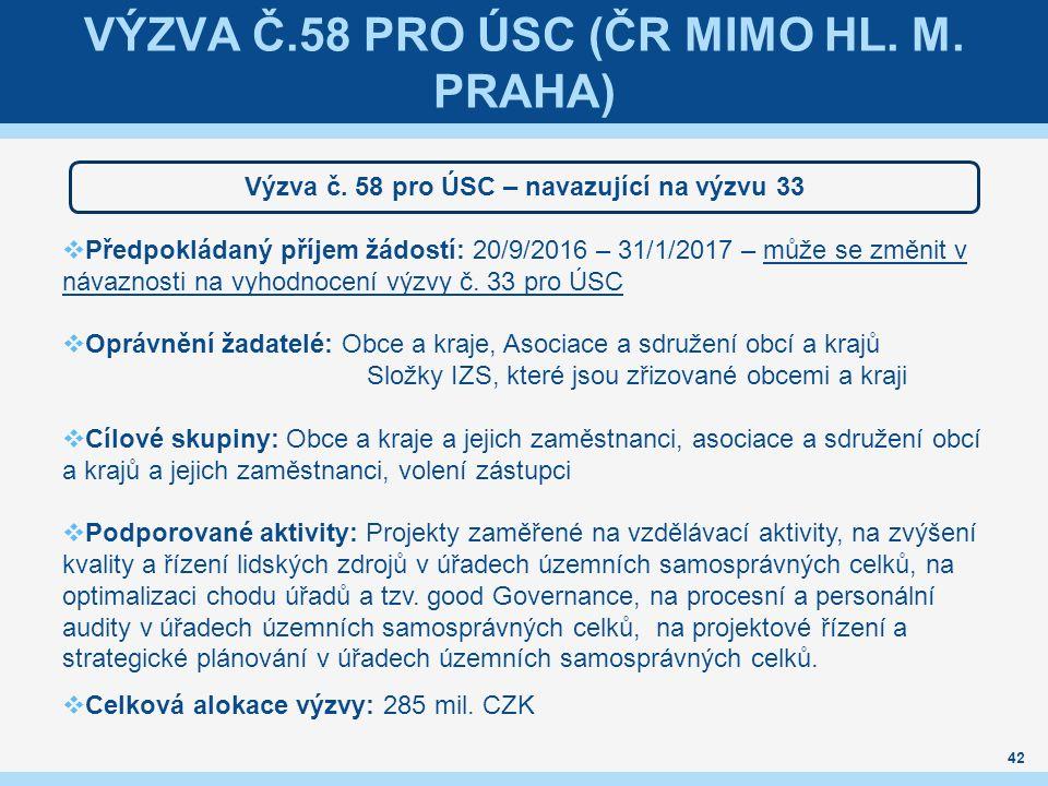 VÝZVA Č.58 PRO ÚSC (ČR MIMO HL. M. PRAHA) Výzva č.