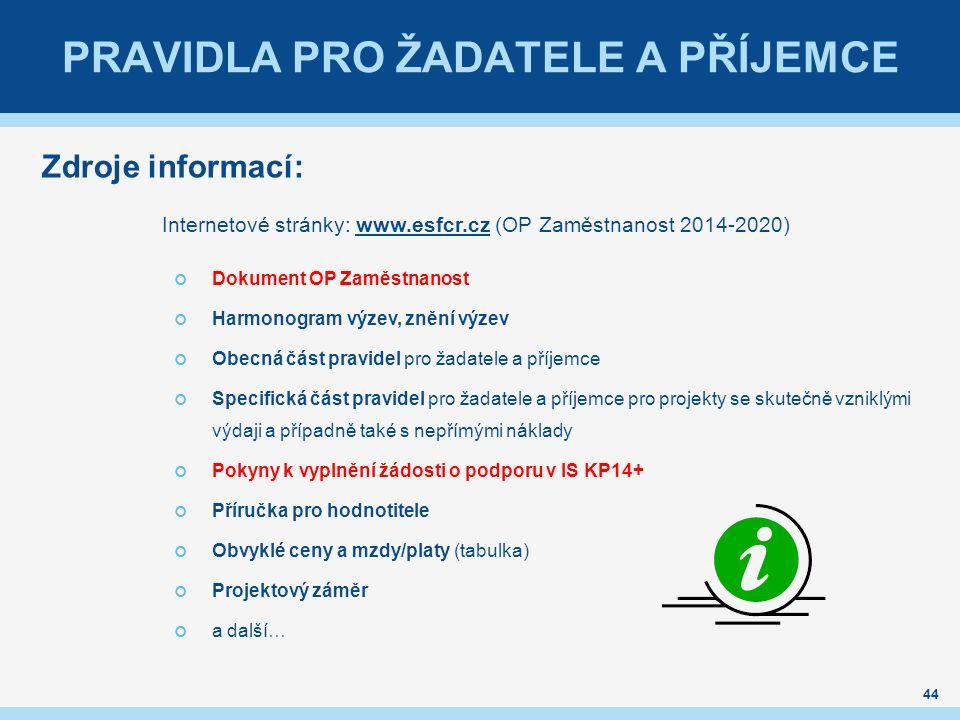 PRAVIDLA PRO ŽADATELE A PŘÍJEMCE Zdroje informací: Internetové stránky: www.esfcr.cz (OP Zaměstnanost 2014-2020)www.esfcr.cz Dokument OP Zaměstnanost Harmonogram výzev, znění výzev Obecná část pravidel pro žadatele a příjemce Specifická část pravidel pro žadatele a příjemce pro projekty se skutečně vzniklými výdaji a případně také s nepřímými náklady Pokyny k vyplnění žádosti o podporu v IS KP14+ Příručka pro hodnotitele Obvyklé ceny a mzdy/platy (tabulka) Projektový záměr a další… 44