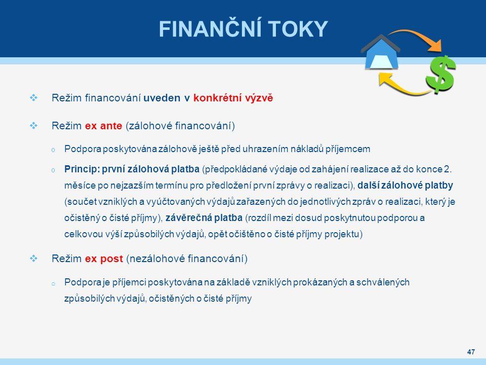 FINANČNÍ TOKY  Režim financování uveden v konkrétní výzvě  Režim ex ante (zálohové financování) o Podpora poskytována zálohově ještě před uhrazením nákladů příjemcem o Princip: první zálohová platba (předpokládané výdaje od zahájení realizace až do konce 2.