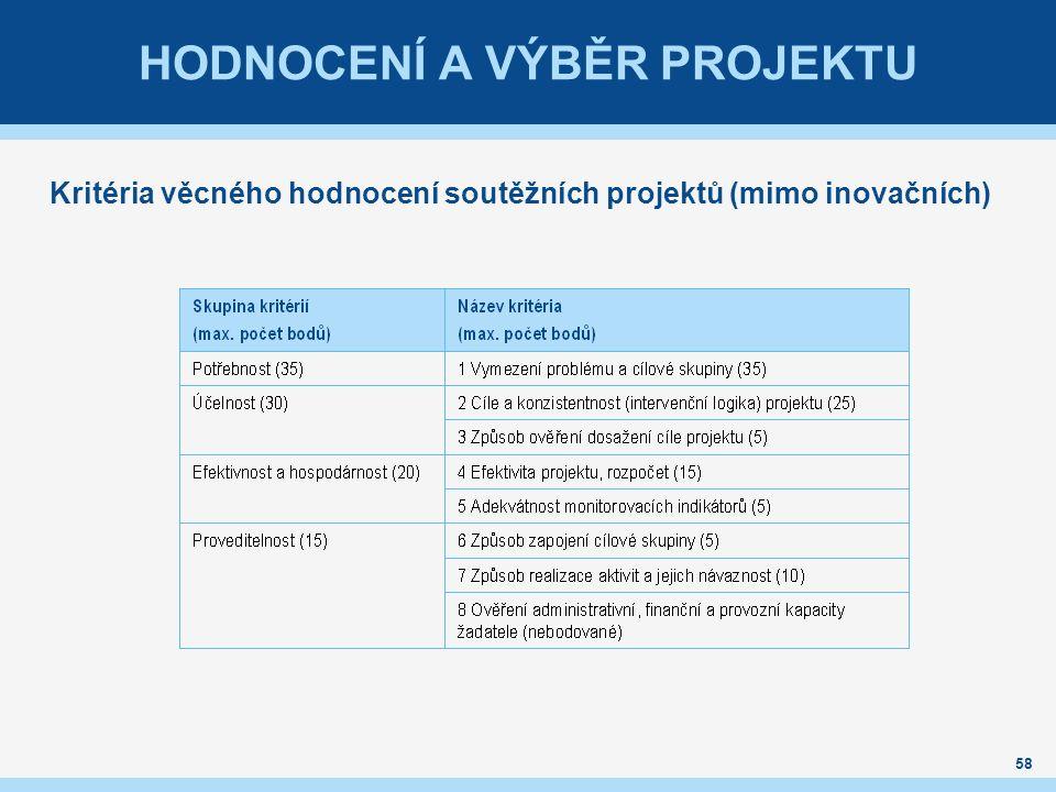 HODNOCENÍ A VÝBĚR PROJEKTU Kritéria věcného hodnocení soutěžních projektů (mimo inovačních) 58