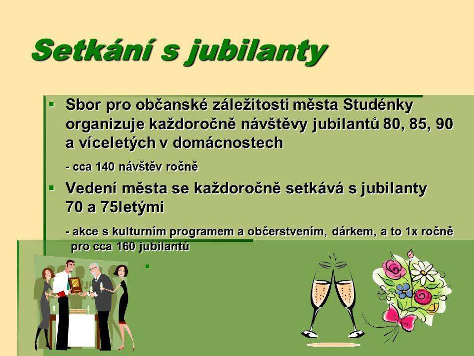 Setkání s jubilanty  Sbor pro občanské záležitosti města Studénky organizuje každoročně návštěvy jubilantů 80, 85, 90 a víceletých v domácnostech - cca 140 návštěv ročně  Vedení města se každoročně setkává s jubilanty 70 a 75letými - akce s kulturním programem a občerstvením, dárkem, a to 1x ročně pro cca 160 jubilantů 