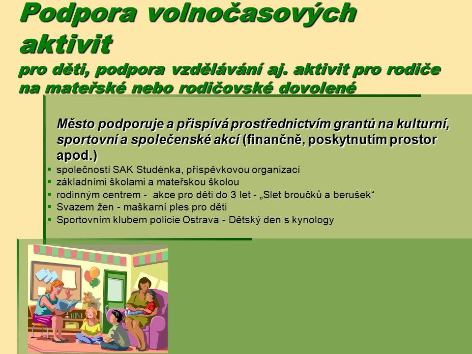 Podpora volnočasových aktivit pro děti, podpora vzdělávání aj. aktivit pro rodiče na mateřské nebo rodičovské dovolené Město podporuje a přispívá pros