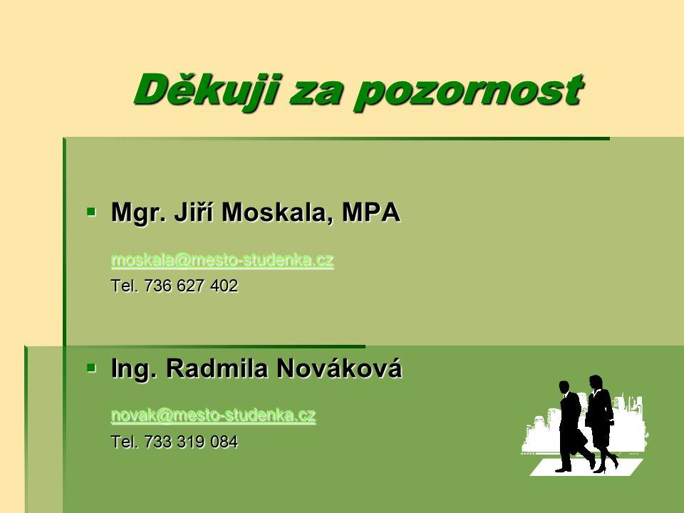 Děkuji za pozornost  Mgr. Jiří Moskala, MPA moskala@mesto-studenka.cz Tel. 736 627 402  Ing. Radmila Nováková novak@mesto-studenka.cz Tel. 733 319 0