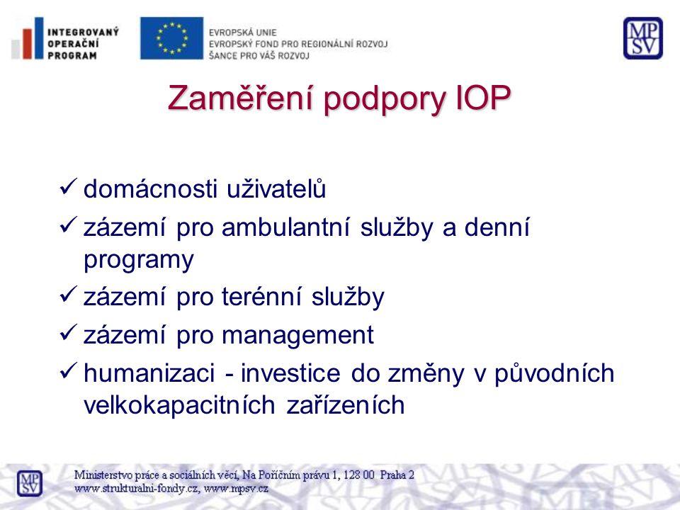 Zaměření podpory IOP domácnosti uživatelů zázemí pro ambulantní služby a denní programy zázemí pro terénní služby zázemí pro management humanizaci - investice do změny v původních velkokapacitních zařízeních