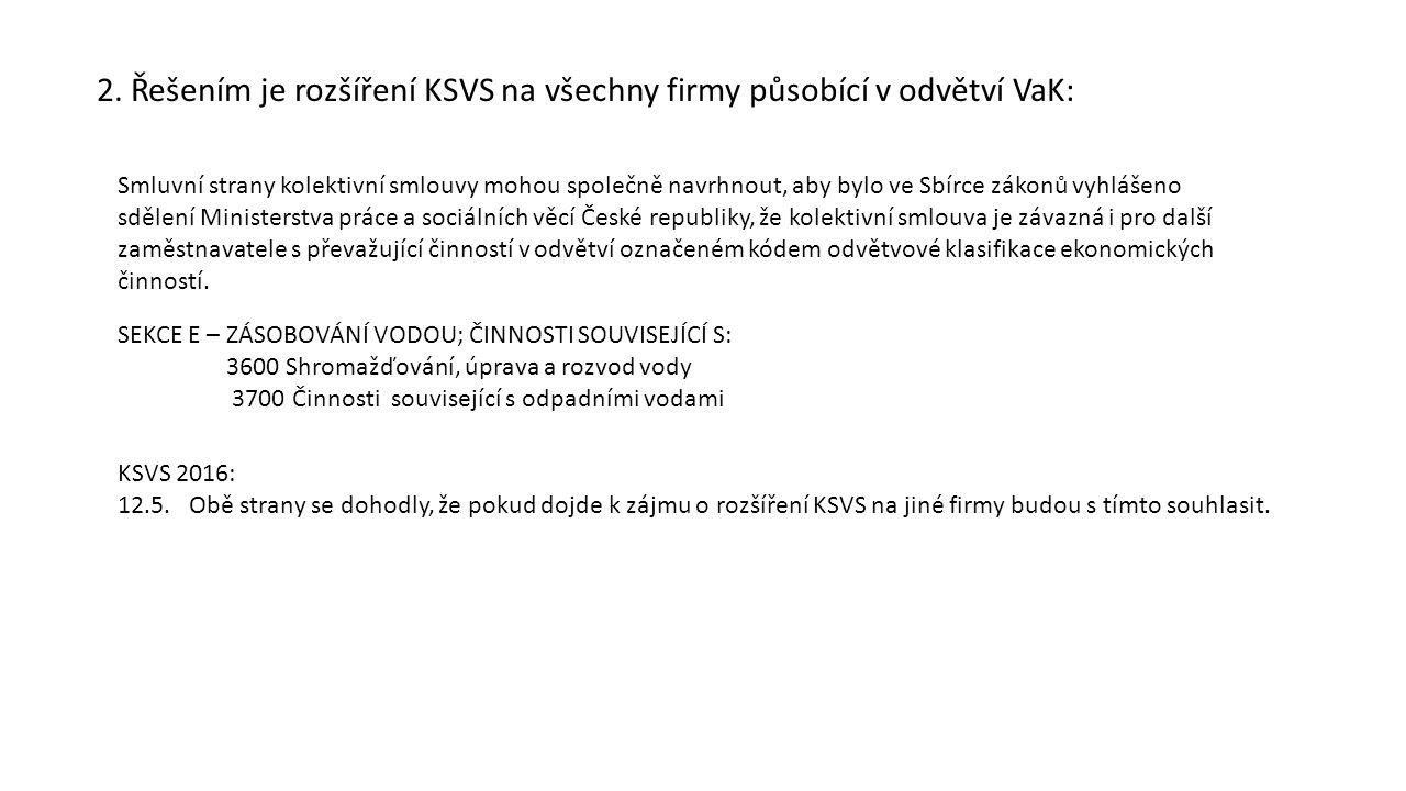 2. Řešením je rozšíření KSVS na všechny firmy působící v odvětví VaK: Smluvní strany kolektivní smlouvy mohou společně navrhnout, aby bylo ve Sbírce z