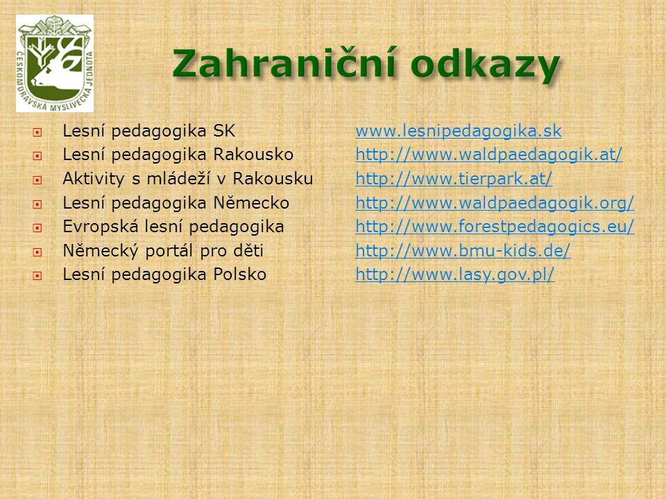  Lesní pedagogika SKwww.lesnipedagogika.skwww.lesnipedagogika.sk  Lesní pedagogika Rakouskohttp://www.waldpaedagogik.at/http://www.waldpaedagogik.at