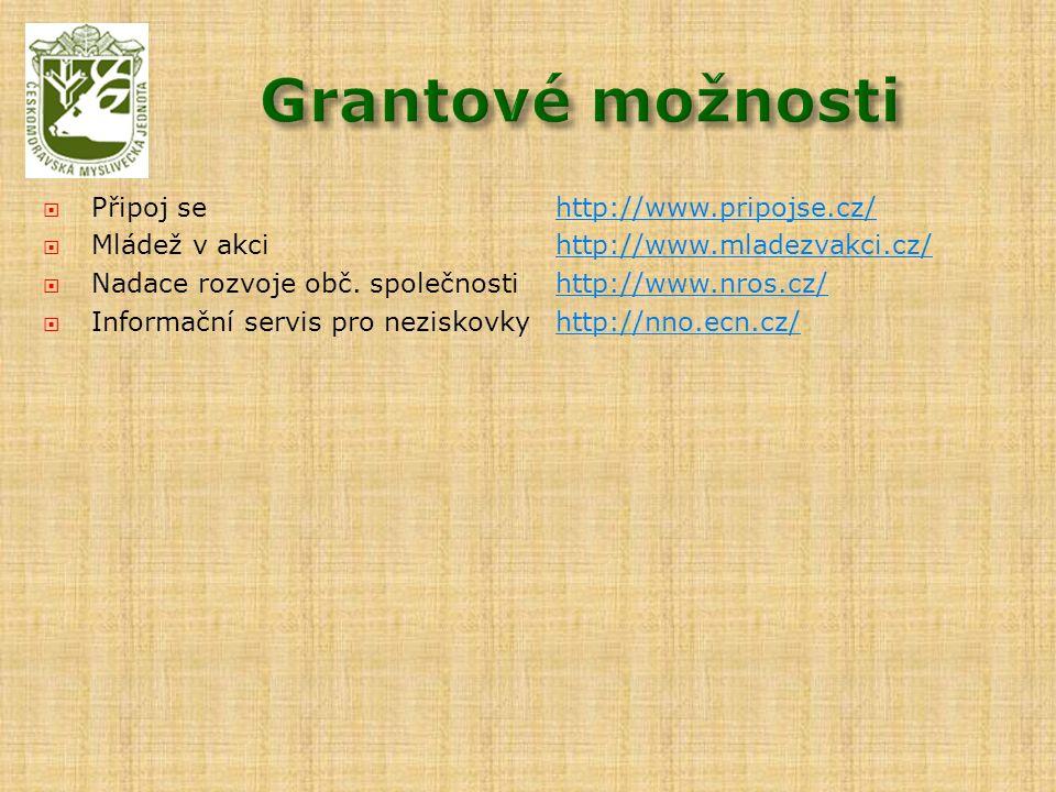  Připoj sehttp://www.pripojse.cz/http://www.pripojse.cz/  Mládež v akcihttp://www.mladezvakci.cz/http://www.mladezvakci.cz/  Nadace rozvoje obč. sp