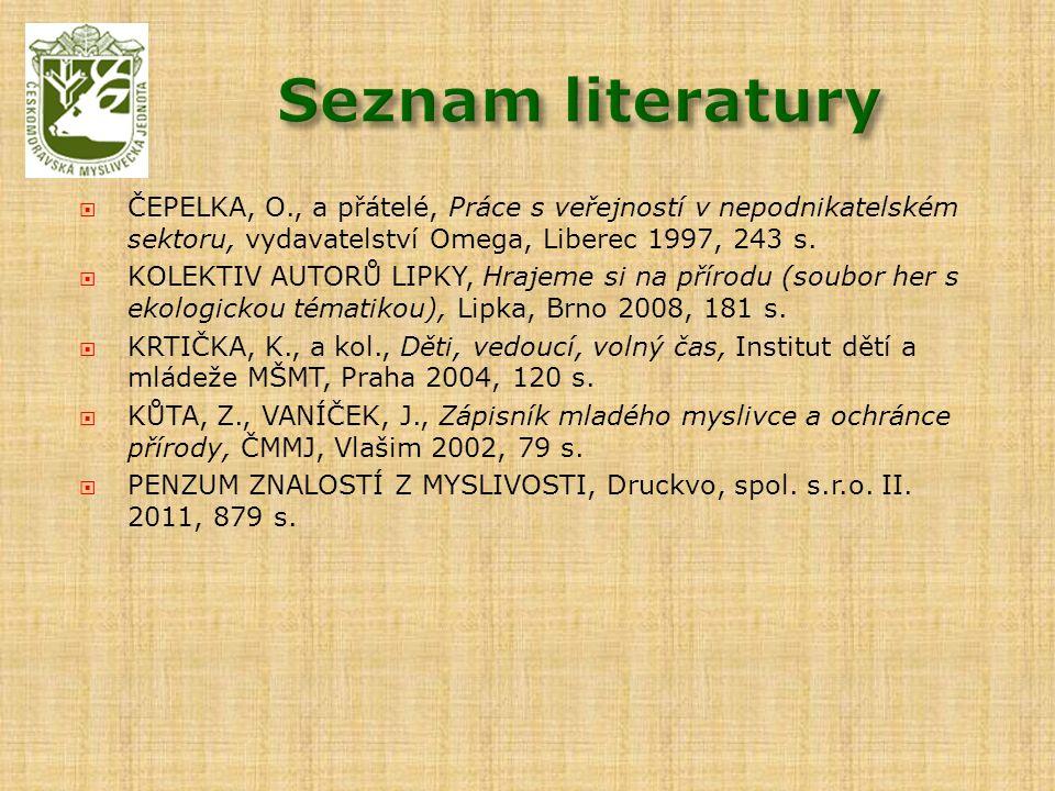 ČEPELKA, O., a přátelé, Práce s veřejností v nepodnikatelském sektoru, vydavatelství Omega, Liberec 1997, 243 s.  KOLEKTIV AUTORŮ LIPKY, Hrajeme si