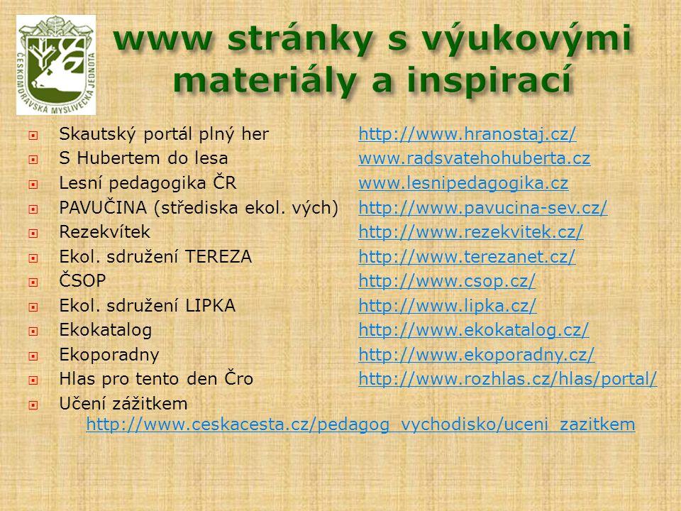 Skautský portál plný herhttp://www.hranostaj.cz/http://www.hranostaj.cz/  S Hubertem do lesa www.radsvatehohuberta.czwww.radsvatehohuberta.cz  Les