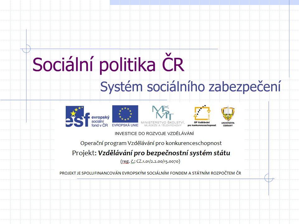 Sociální politika ČR Systém sociálního zabezpečení
