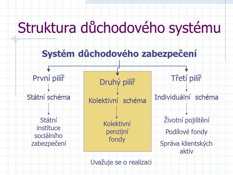 Struktura důchodového systému Systém důchodového zabezpečení První pilířTřetí pilíř Druhý pilíř Státní schéma Státní instituce sociálního zabezpečení Kolektivní schéma Individuální schéma Kolektivní penzijní fondy Životní pojištění Podílové fondy Správa klientských aktiv Uvažuje se o realizaci