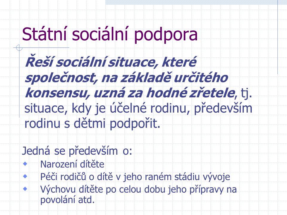Státní sociální podpora Řeší sociální situace, které společnost, na základě určitého konsensu, uzná za hodné zřetele, tj.