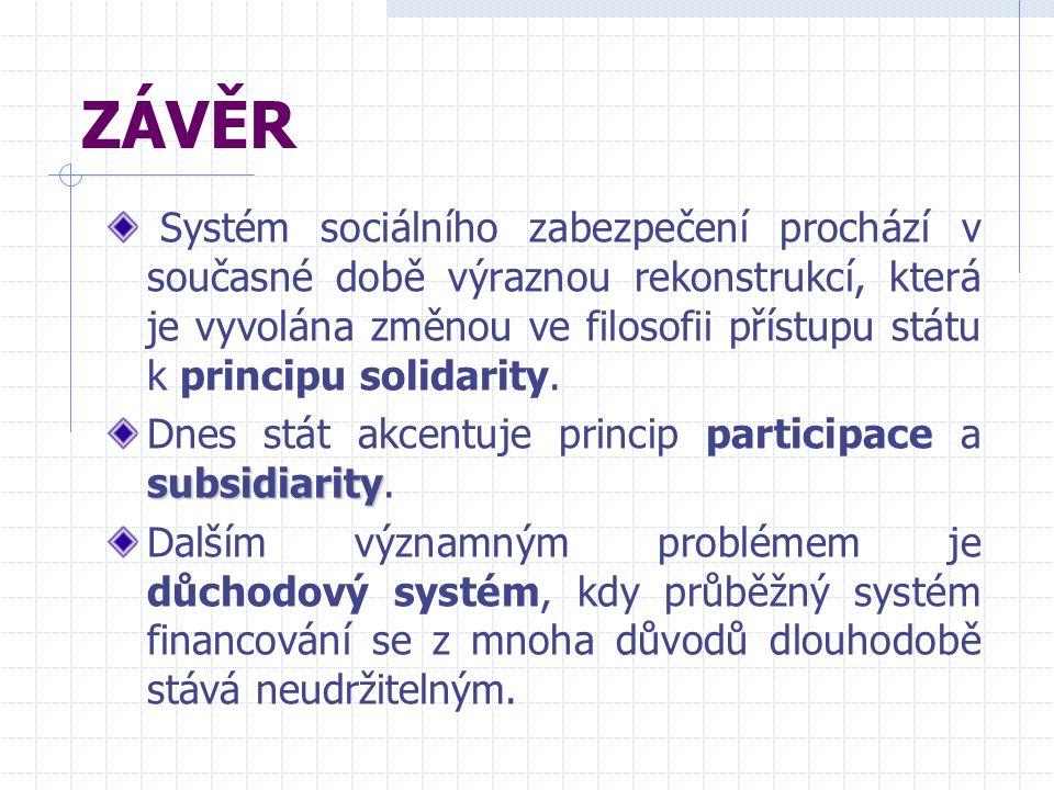 ZÁVĚR Systém sociálního zabezpečení prochází v současné době výraznou rekonstrukcí, která je vyvolána změnou ve filosofii přístupu státu k principu solidarity.