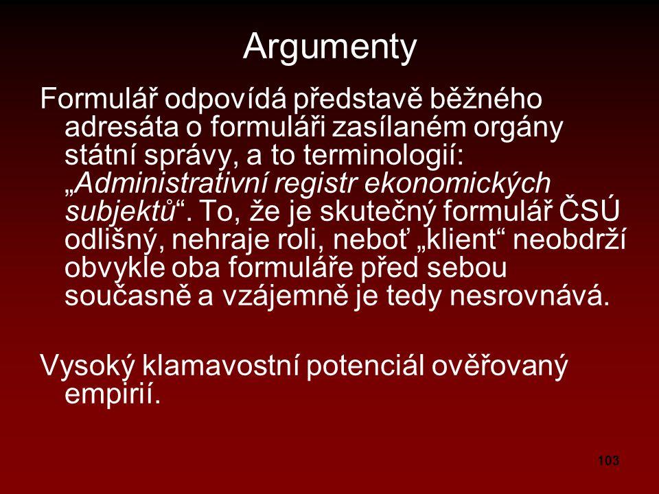 """103 Argumenty Formulář odpovídá představě běžného adresáta o formuláři zasílaném orgány státní správy, a to terminologií: """"Administrativní registr ekonomických subjektů ."""