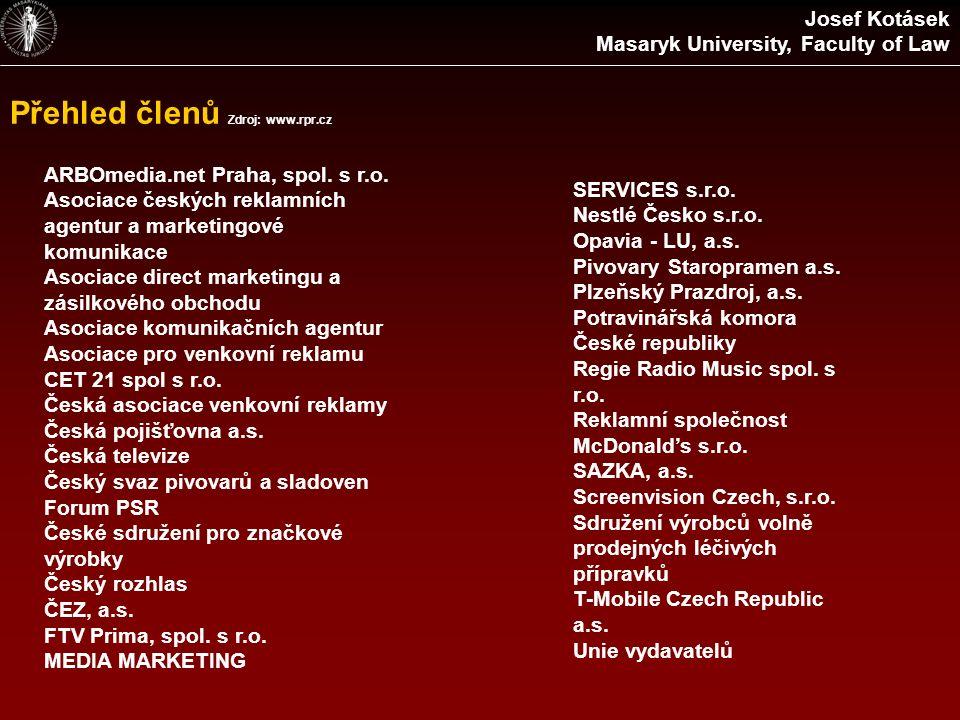 Přehled členů Zdroj: www.rpr.cz ARBOmedia.net Praha, spol. s r.o. Asociace českých reklamních agentur a marketingové komunikace Asociace direct market