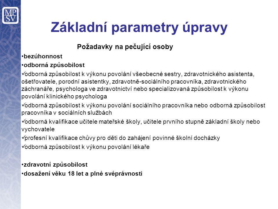 Základní parametry úpravy Požadavky na pečující osoby bezúhonnost odborná způsobilost odborná způsobilost k výkonu povolání všeobecné sestry, zdravotnického asistenta, ošetřovatele, porodní asistentky, zdravotně-sociálního pracovníka, zdravotnického záchranáře, psychologa ve zdravotnictví nebo specializovaná způsobilost k výkonu povolání klinického psychologa odborná způsobilost k výkonu povolání sociálního pracovníka nebo odborná způsobilost pracovníka v sociálních službách odborná kvalifikace učitele mateřské školy, učitele prvního stupně základní školy nebo vychovatele profesní kvalifikace chůvy pro děti do zahájení povinné školní docházky odborná způsobilost k výkonu povolání lékaře zdravotní způsobilost dosažení věku 18 let a plné svéprávnosti