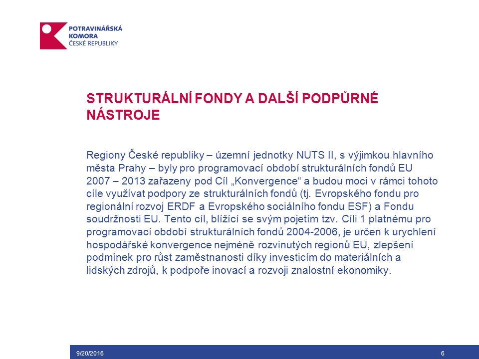 9/20/20167 STRUKTURÁLNÍ FONDY A DALŠÍ PODPŮRNÉ NÁSTROJE V oblasti Společné zemědělské politiky jsou základními předpisy Nařízení Rady (ES) č.