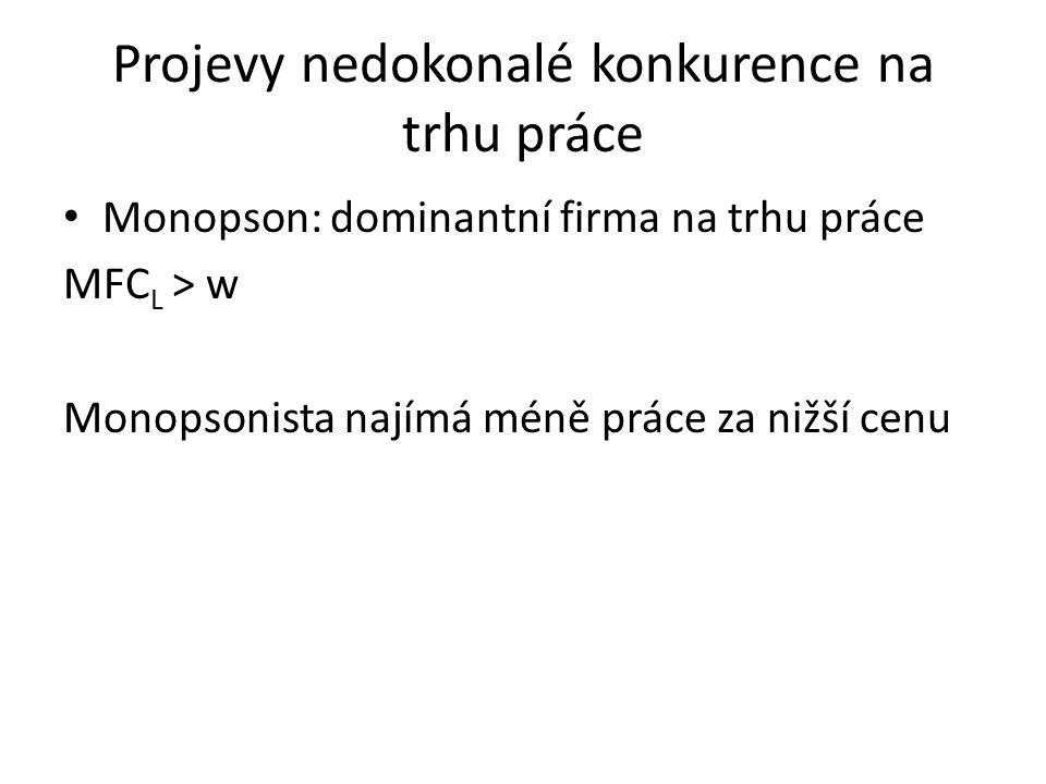 Projevy nedokonalé konkurence na trhu práce Monopson: dominantní firma na trhu práce MFC L > w Monopsonista najímá méně práce za nižší cenu
