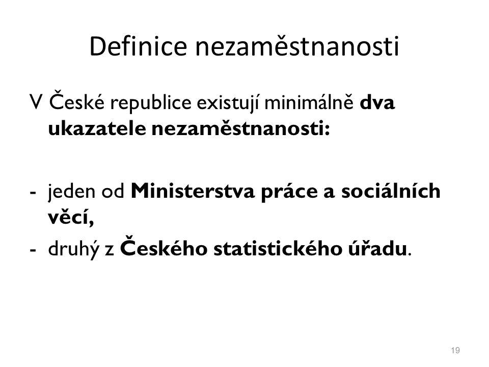 Definice nezaměstnanosti V České republice existují minimálně dva ukazatele nezaměstnanosti: -jeden od Ministerstva práce a sociálních věcí, -druhý z Českého statistického úřadu.