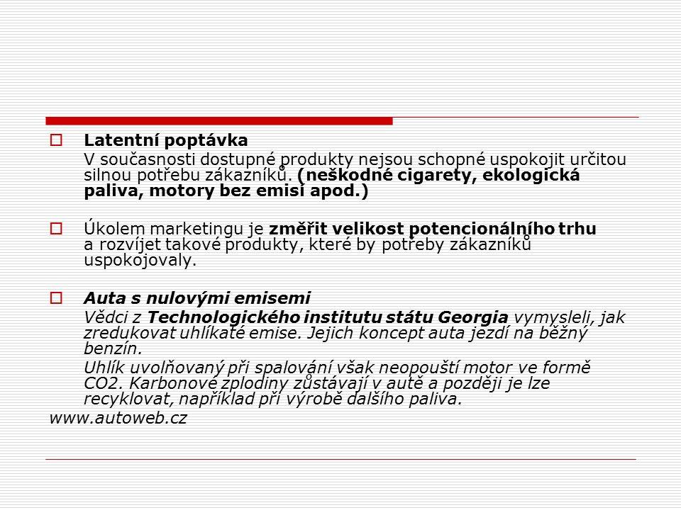  Latentní poptávka V současnosti dostupné produkty nejsou schopné uspokojit určitou silnou potřebu zákazníků. (neškodné cigarety, ekologická paliva,