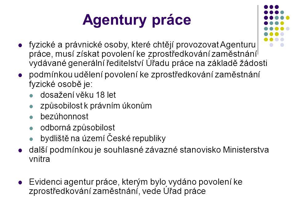 Agentury práce fyzické a právnické osoby, které chtějí provozovat Agenturu práce, musí získat povolení ke zprostředkování zaměstnání vydávané generáln