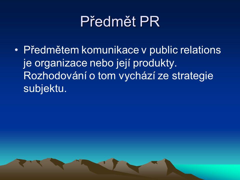 Předmět PR Předmětem komunikace v public relations je organizace nebo její produkty.