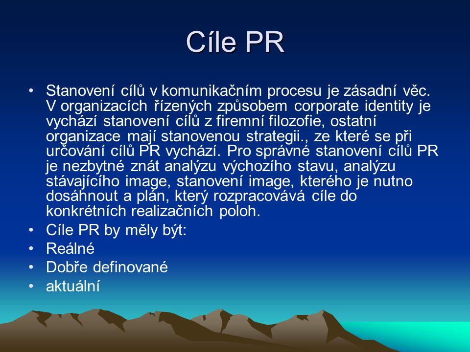 Cíle PR Stanovení cílů v komunikačním procesu je zásadní věc.
