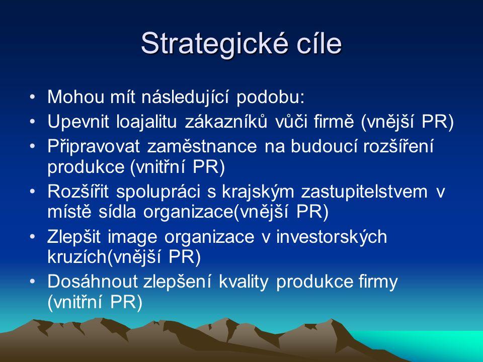 Strategické cíle Mohou mít následující podobu: Upevnit loajalitu zákazníků vůči firmě (vnější PR) Připravovat zaměstnance na budoucí rozšíření produkce (vnitřní PR) Rozšířit spolupráci s krajským zastupitelstvem v místě sídla organizace(vnější PR) Zlepšit image organizace v investorských kruzích(vnější PR) Dosáhnout zlepšení kvality produkce firmy (vnitřní PR)