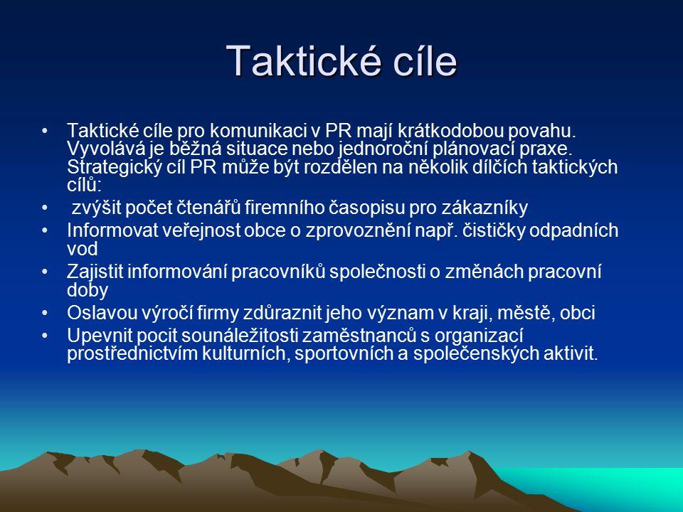 Taktické cíle Taktické cíle pro komunikaci v PR mají krátkodobou povahu.