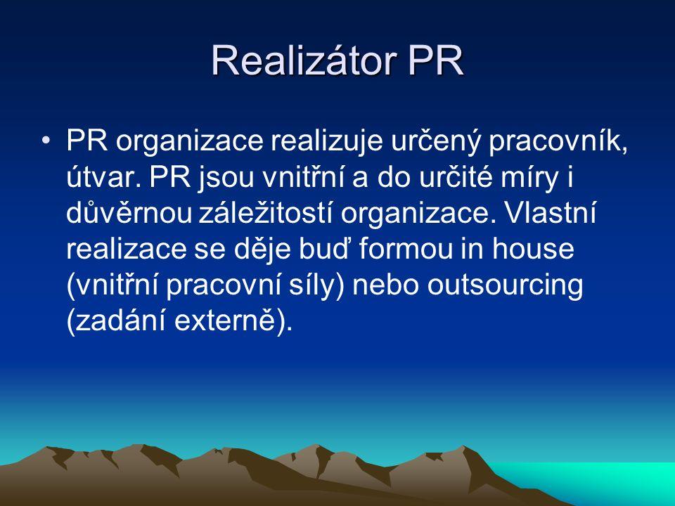 Realizátor PR PR organizace realizuje určený pracovník, útvar.