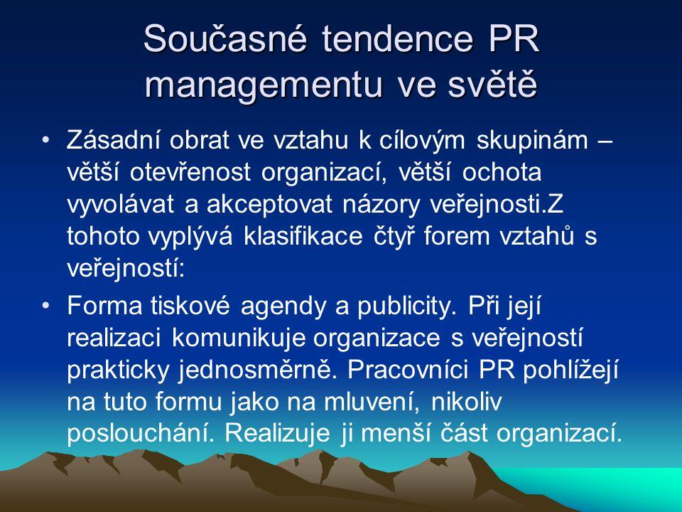 Současné tendence PR managementu ve světě Zásadní obrat ve vztahu k cílovým skupinám – větší otevřenost organizací, větší ochota vyvolávat a akceptovat názory veřejnosti.Z tohoto vyplývá klasifikace čtyř forem vztahů s veřejností: Forma tiskové agendy a publicity.