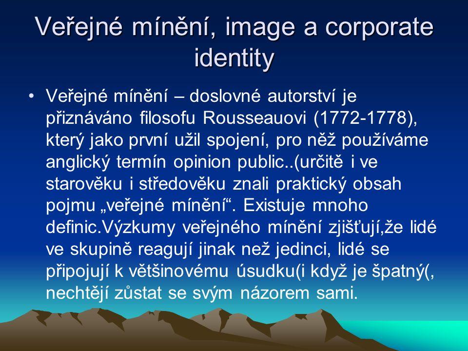 """Veřejné mínění, image a corporate identity Veřejné mínění – doslovné autorství je přiznáváno filosofu Rousseauovi (1772-1778), který jako první užil spojení, pro něž používáme anglický termín opinion public..(určitě i ve starověku i středověku znali praktický obsah pojmu """"veřejné mínění ."""