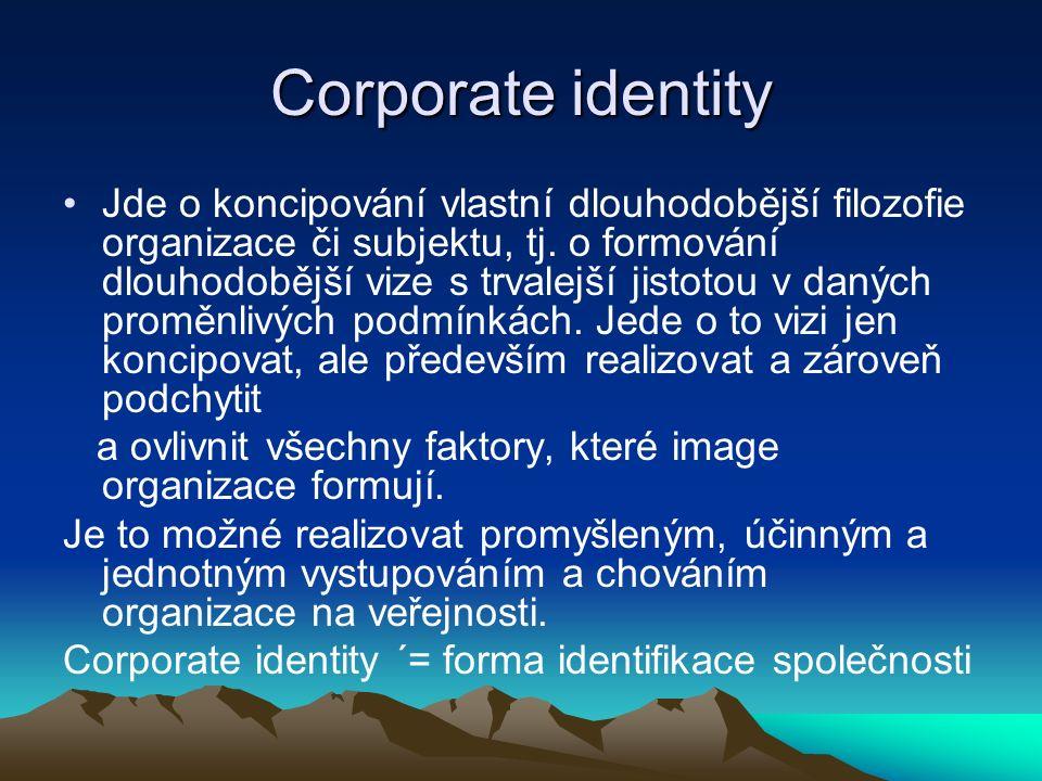 Corporate identity Jde o koncipování vlastní dlouhodobější filozofie organizace či subjektu, tj.