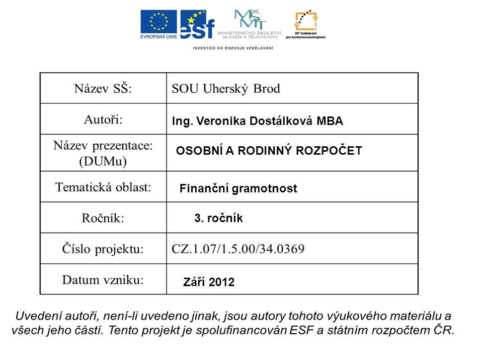 Ing. Veronika Dostálková MBA OSOBNÍ A RODINNÝ ROZPOČET Finanční gramotnost 3. ročník Září 2012