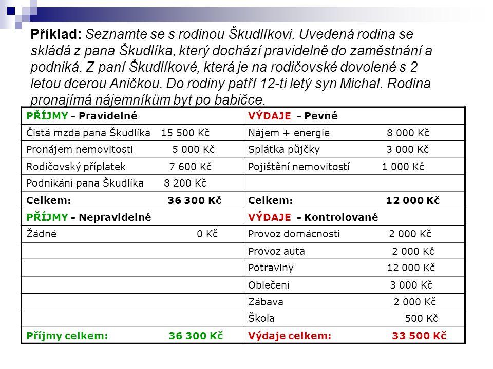 Příklad: Seznamte se s rodinou Škudlíkovi.