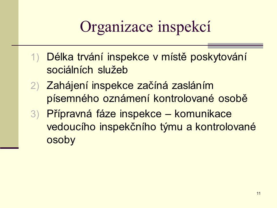 11 Organizace inspekcí 1) Délka trvání inspekce v místě poskytování sociálních služeb 2) Zahájení inspekce začíná zasláním písemného oznámení kontrolované osobě 3) Přípravná fáze inspekce – komunikace vedoucího inspekčního týmu a kontrolované osoby