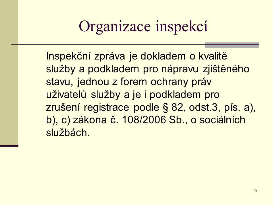 15 Organizace inspekcí Inspekční zpráva je dokladem o kvalitě služby a podkladem pro nápravu zjištěného stavu, jednou z forem ochrany práv uživatelů služby a je i podkladem pro zrušení registrace podle § 82, odst.3, pís.