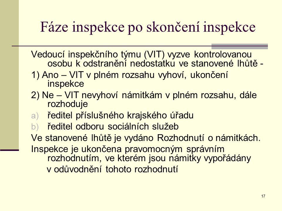 17 Fáze inspekce po skončení inspekce Vedoucí inspekčního týmu (VIT) vyzve kontrolovanou osobu k odstranění nedostatku ve stanovené lhůtě - 1) Ano – V