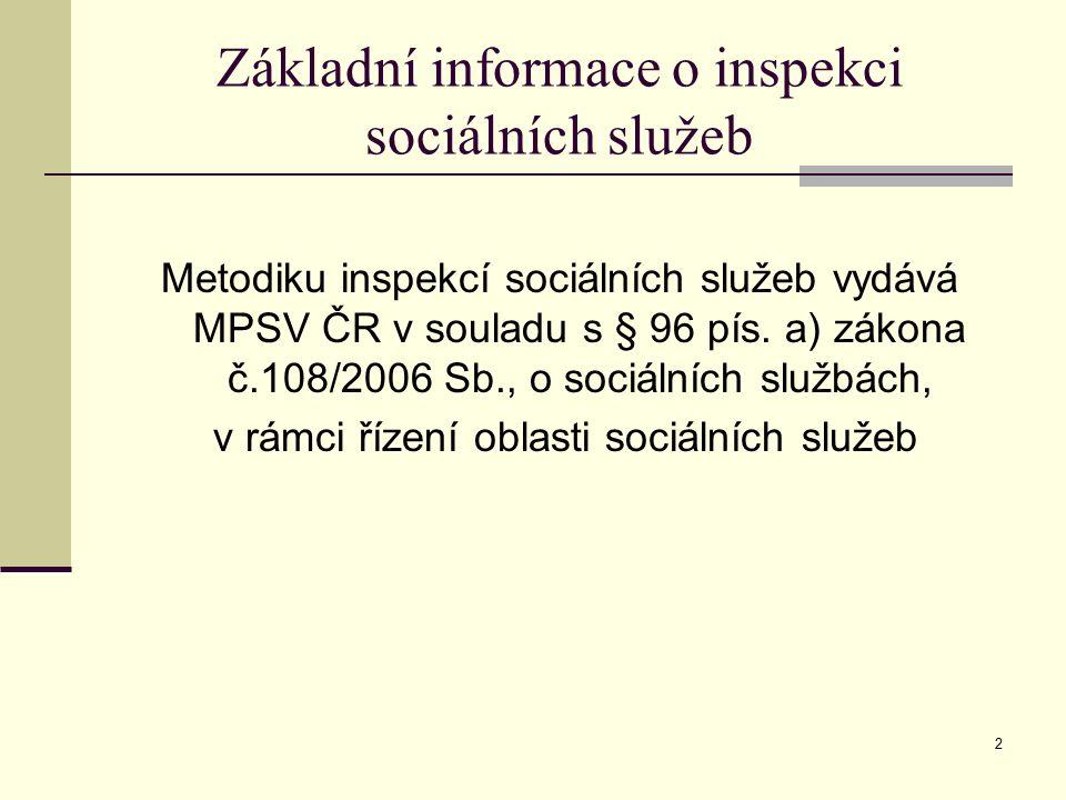 3 Inspekce poskytování sociálních služeb 1) Inspekce je jedním z nástrojů sociální politiky MPSV ČR v oblasti sociálních služeb 2) Podstatou inspekce je kontrola v širším významu, to znamená: a) podpora dobré praxe b) motivace poskytovatelů k žádoucím změnám c) předávání znalostí a vědomostí d) uvádění praxe poskytovatelů do kontextu politiky sociálního začleňování