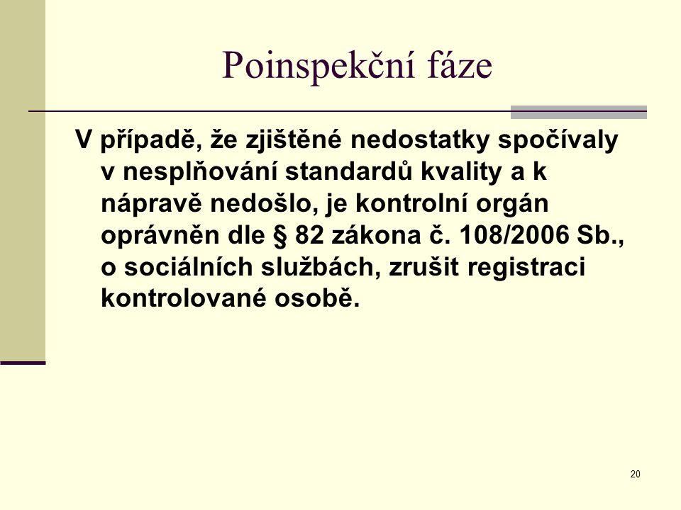 20 Poinspekční fáze V případě, že zjištěné nedostatky spočívaly v nesplňování standardů kvality a k nápravě nedošlo, je kontrolní orgán oprávněn dle §