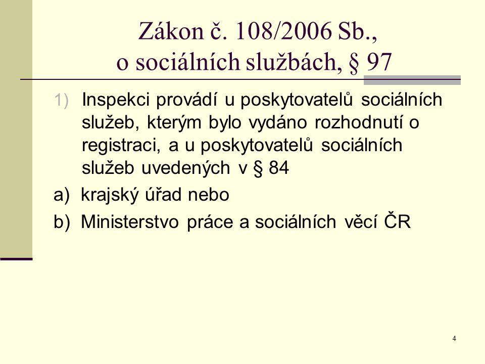 4 Zákon č. 108/2006 Sb., o sociálních službách, § 97 1) Inspekci provádí u poskytovatelů sociálních služeb, kterým bylo vydáno rozhodnutí o registraci