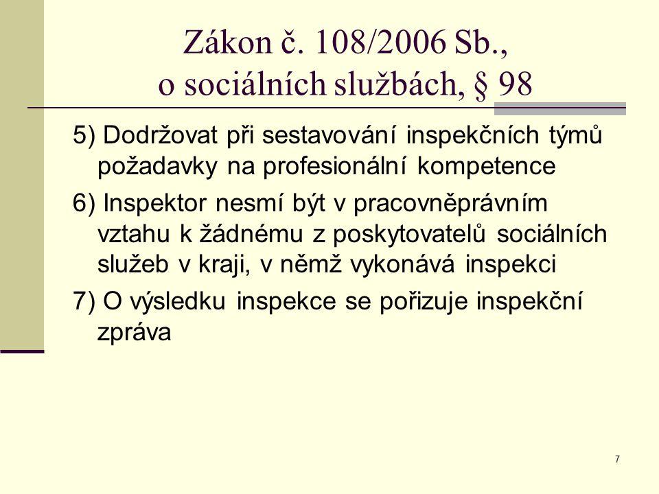 7 Zákon č. 108/2006 Sb., o sociálních službách, § 98 5) Dodržovat při sestavování inspekčních týmů požadavky na profesionální kompetence 6) Inspektor